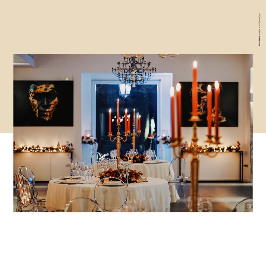 Sala D'Avalos allestita per un matrimonio natalizio